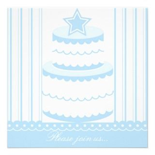 Little Boy Blue Birthday Cake Party Invitation