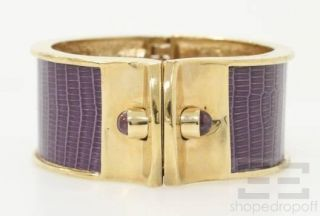 Kara by Kara Ross Gold Purple Lizard with Amethyst Shirt Cuff Bracelet