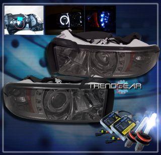 94 01 Dodge RAM Halo LED Projector Headlight HID 8K Lamp Smoke 95 96