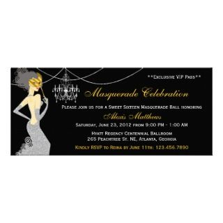 Sweet Sixteen Masquerade Diva VIP Pass Invitation