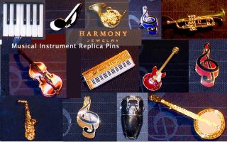 VI Soprano Saxophone Scaled Replica Jewelry Pin 24 karat Gold Plated