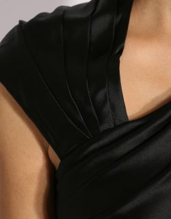 Karen Millen Black Drap Silk TH109 Top Blouse Sz 8 16