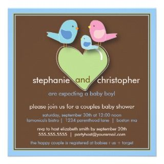 Blocks Blue Green Boy Baby Shower Custom Invitation