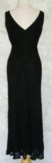 Ann Taylor Long Black on Black Floral Bias Cut Dress 12 Tank Figure