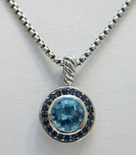 David Yurman Albion Blue Topaz Sapphire Necklace Round $550