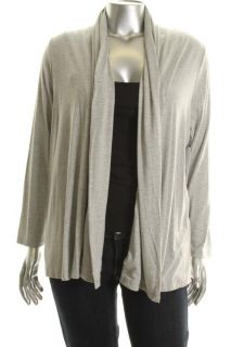 Karen Kane New Gray Long Sleeves Open Front Faux Wrap Back Cardigan