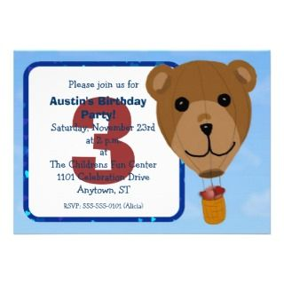 Hot Air Balloon Teddy Birthday Party Invitation