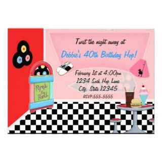 50s Diner Invitations, 21 50s Diner Announcements & Invites