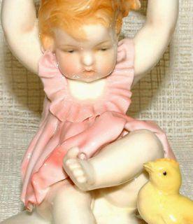 Vintage Karl Ens Volkstedt Figurine Baby Girl Chick Sadly A F