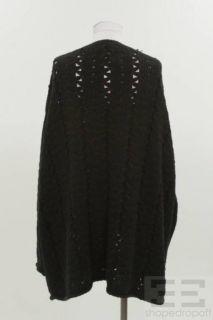 Donna Karan Collection Black Open Knit V Neck Sweater Size M L