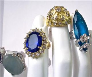 Lot of 8 Big Cocktail Rings Costume Vintage Style Rhinestones Double