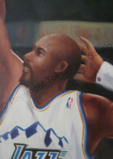 Karl Malone Utah Jazz Signature Dunk   Original NBA Oil Painting on