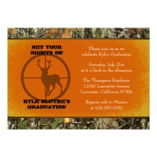 Orange   Camo Graduation Invitations