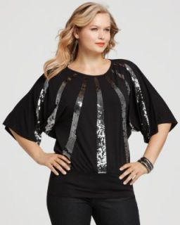 Karen Kane New Radial Black Sequin Front Banded Hem Kimono Blouse Top