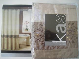 KAS Romana Fabric Shower Curtain Brown Bronze Taupe