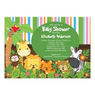 Cute Safari Jungle Animals Baby Shower Invitations