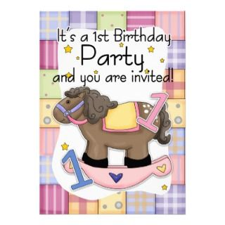 1st Birthday Invitation Pink Rocking Horse