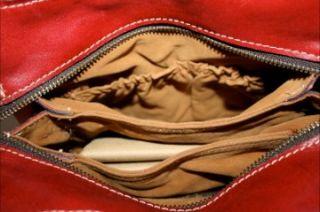 Patricia Nash Roma LS Satchel Red Leather Shoulder Handbag Purse