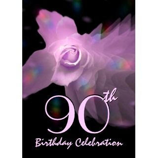 90th Birthday Party Invitation PINK Butterfly Rose invitation