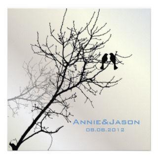 Modern Love Birds Tree Wedding Invitation