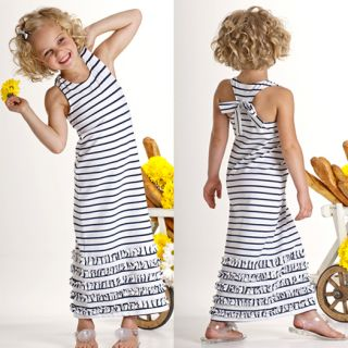 Kate Mack Biscotti Seaside Petals Striped Maxi Dress Spring 2013 NWT