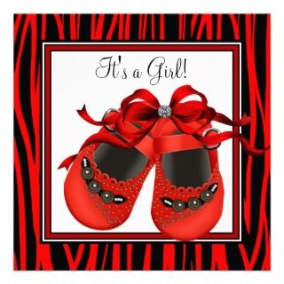 Red Black Shoes Red Zebra Baby Girl Shower Personalized Announcement