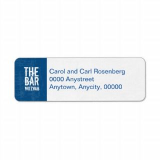 Rock Band Bar Mitzvah Return Address in Blue Custom Return Address