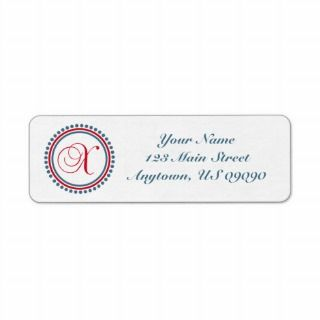 Dot Circle Mongram Address Label (Red / Blue)