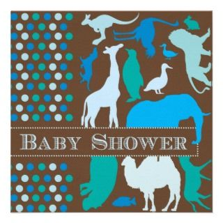 5x7 monkey time zoo animal baby shower invitation