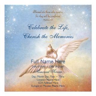 Blue Dove In Loving Memory Memorial Custom Invitations