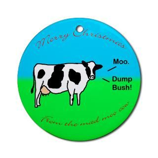Merry Christmas from the Mad Moo Cow  Anti Bush Stickers, Buttons