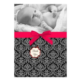 Black Damask Red Bow Baby Photo Thank You Cards Custom Invites