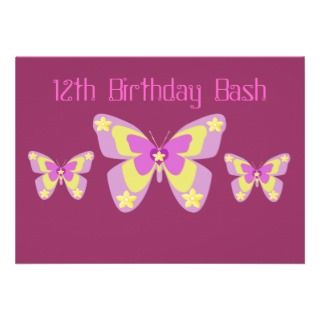 12th Birthday Party Invitation, Butterflies