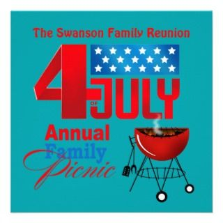 of July Family Reunion Picnic BBQ Cookout Invitations