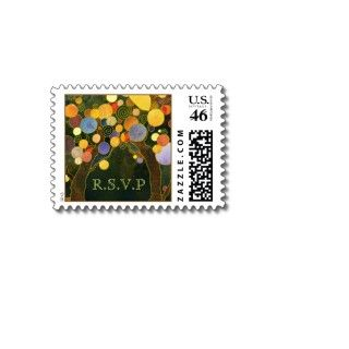 Romantic, Cute Fall Love Trees Wedding RSVP Stamps