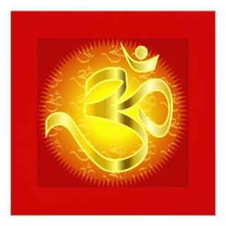 Om in Oranges & Gold   Namaste Personalized Announcements