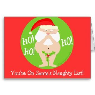 Funny Naughty Santa Christmas Card