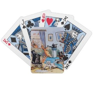 Cats on a Spring Cleaning Spree   by Louis Wain playing cards by