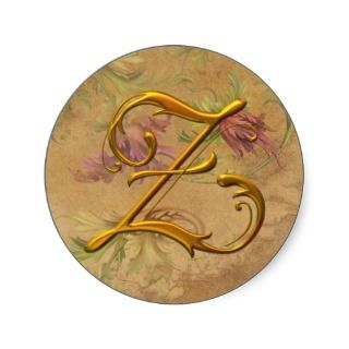 KRW Vintage Floral Gold Z Monogram Wedding Seal Round Stickers