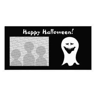 BOO white ghost trio orange Halloween greeting Personalized Photo Card