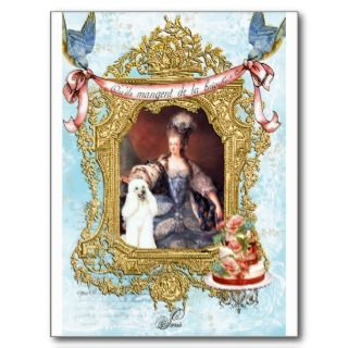 Queen Marie Antoinette White Poodle n Cake Post Card