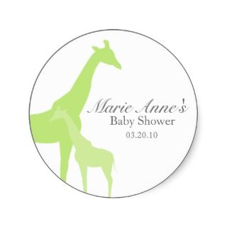 green giraffe BABY SHOWER custom keepsake label Sticker