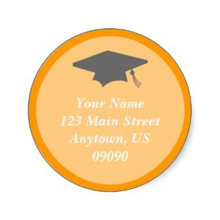 Classic Graduation Address Label (Orange) Round Stickers