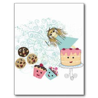 Magdalenas del chica del animado, galletas, torta tarjeta postal de
