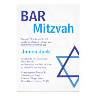 Modern Bar Mitzvah Invitiation  Blue & White Personalized Announcement