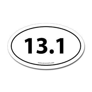 13.1 Half Marathon Bumper Sticker  White (Oval)