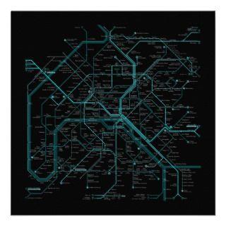 paris mero map (cirage noir) inviaions