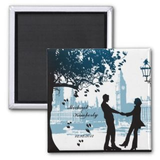 Romantic couple in love save the date announcement fridge magnets