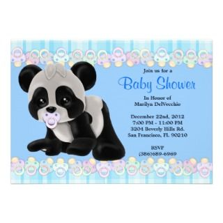 Sweet Plush Baby Panda Bear Baby Shower Invitation