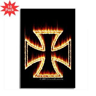 Flames Iron Cross Rectangle Magnet (10 pack)